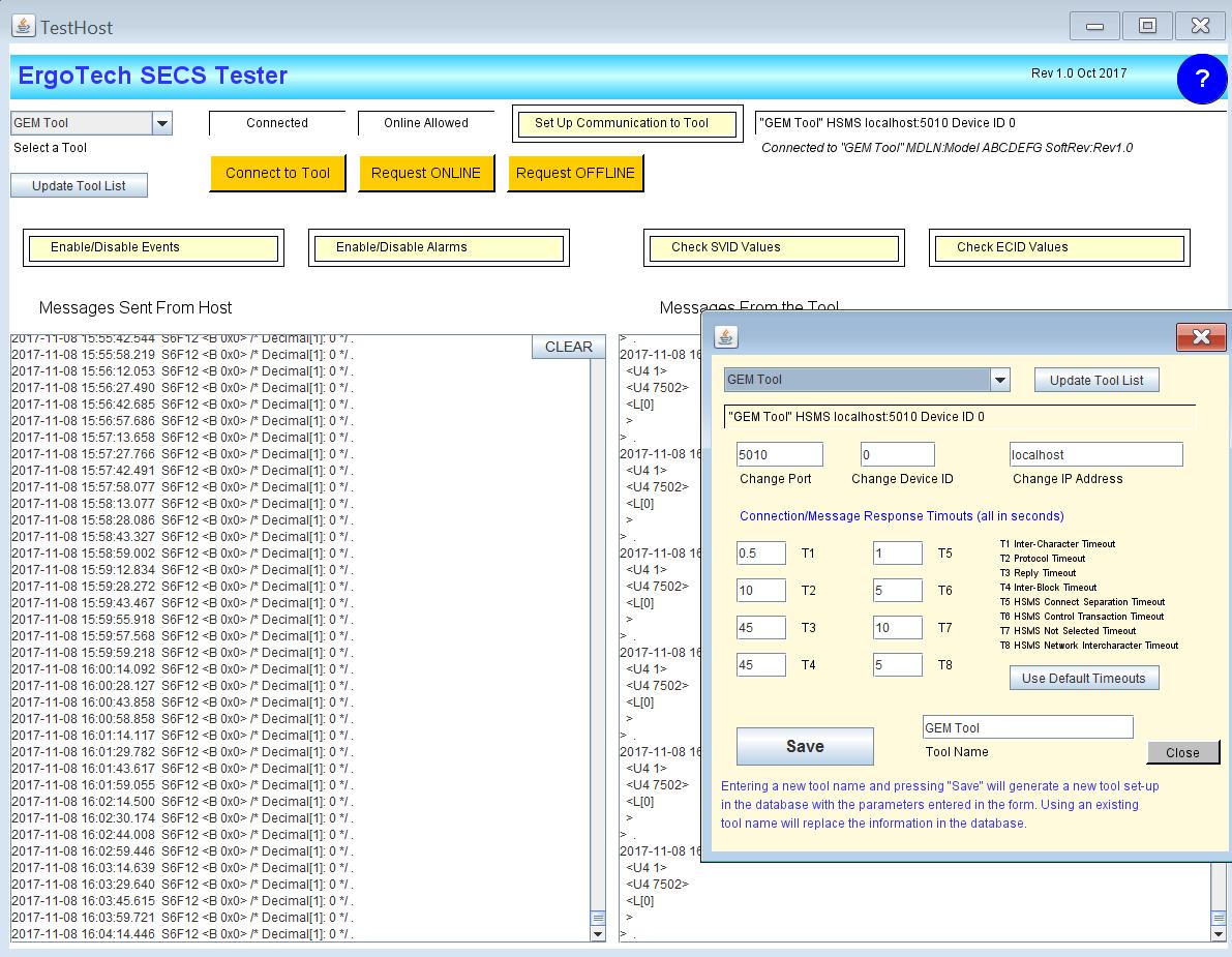SECS/GEM Tester & Simulator   ErgoTech